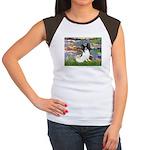 Lilies (2) & Papillon Women's Cap Sleeve T-Shirt