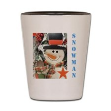 Snowman Star. Shot Glass