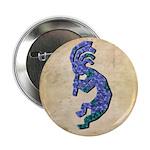 Blue Kokopelli Button