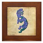Blue Kokopelli Framed Tile