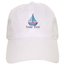 Customizable Blue Sailboat Baseball Baseball Cap