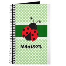 Personalized Ladybug on Green Polka Dots Pattern J
