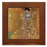 Gustav Klimt Art Framed Tile Adele Gold