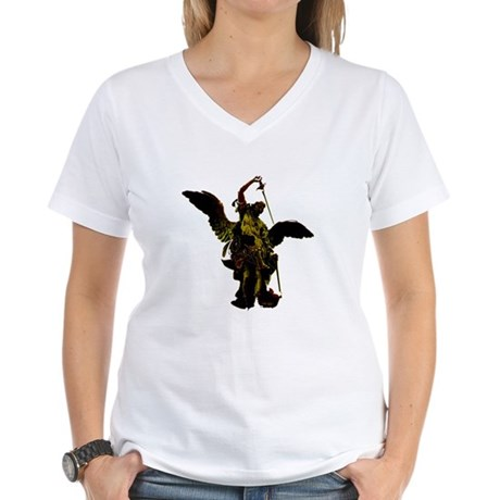 Powerful Angel - Gold Women's V-Neck T-Shirt