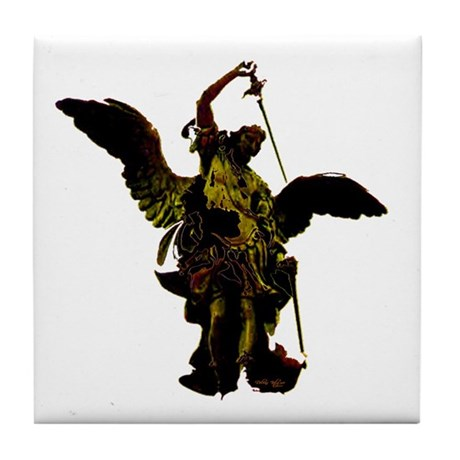 Powerful Angel - Gold Tile Coaster