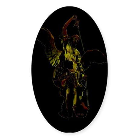 Powerful Angel - Gold Oval Sticker