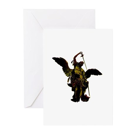 Powerful Angel - Gold Greeting Cards (Pk of 10