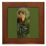 Alphonse Mucha Emerald Framed Fine Art Tile