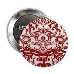 Red Damask Retro Florentine Button