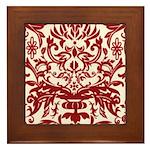 Red Damask Retro Florentine Framed Tile