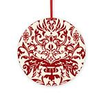 Red Damask Retro Florentine Ornament (Round)