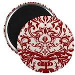 Red Damask Retro Florentine Magnet