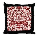 Red Damask Retro Florentine Throw Pillow