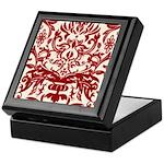 Red Damask Retro Florentine Keepsake Box