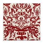 Red Damask Retro Florentine Tile Coaster