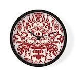Red Damask Retro Florentine Wall Clock