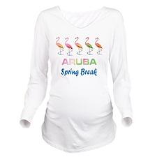 Tropical Flamingos A Long Sleeve Maternity T-Shirt
