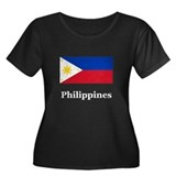 Philippines Women's Plus Size Scoop Neck Dark T-S