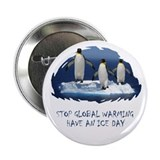 "Cute Penguin Anti Global Warming 2.25"" Button"