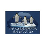 Cute Penguin Anti Global Warming Rectangle Magnet