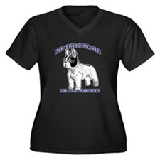 Unique French bulldog terrier Women's Plus Size V-Neck Dark T-Shirt