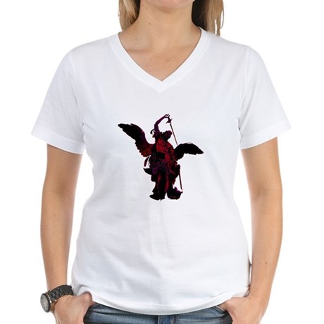 Powerful Angel - Red Women's V-Neck T-Shirt