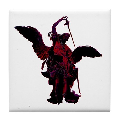 Powerful Angel - Red Tile Coaster