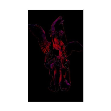 Powerful Angel - Red Rectangle Sticker