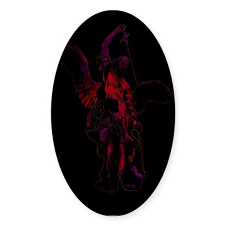 Powerful Angel - Red Oval Sticker