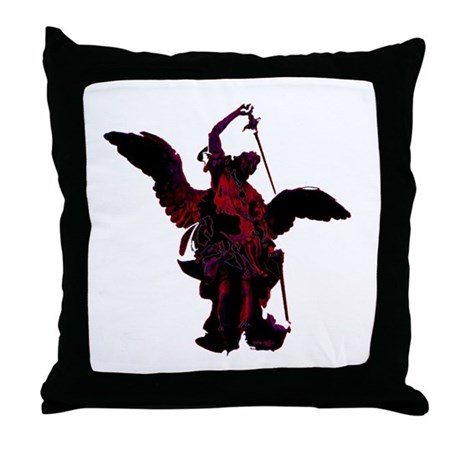 Powerful Angel - Red Throw Pillow