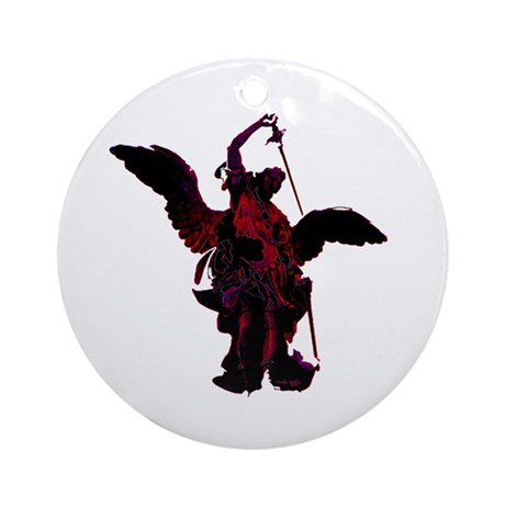 Powerful Angel - Red Ornament (Round)