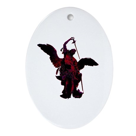 Powerful Angel - Red Oval Ornament