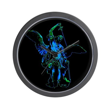 Powerful Angel - Blue Wall Clock