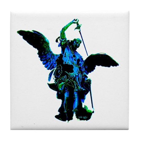 Powerful Angel - Blue Tile Coaster