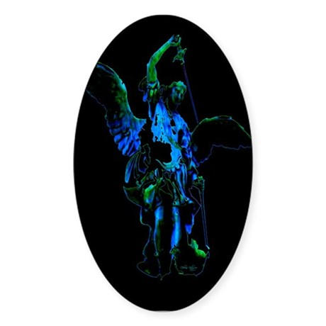 Powerful Angel - Blue Oval Sticker