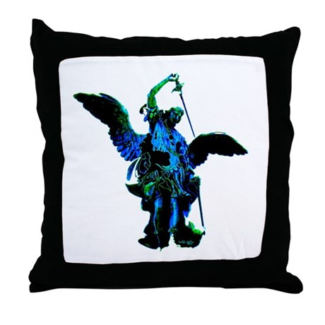 Powerful Angel - Blue Throw Pillow