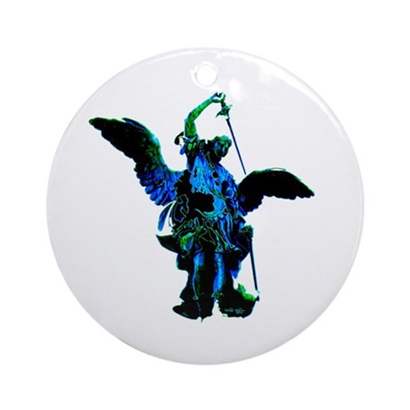 Powerful Angel - Blue Ornament (Round)