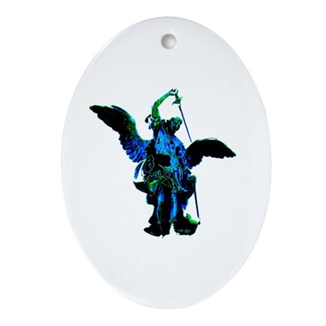 Powerful Angel - Blue Oval Ornament