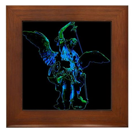 Powerful Angel - Blue Framed Tile