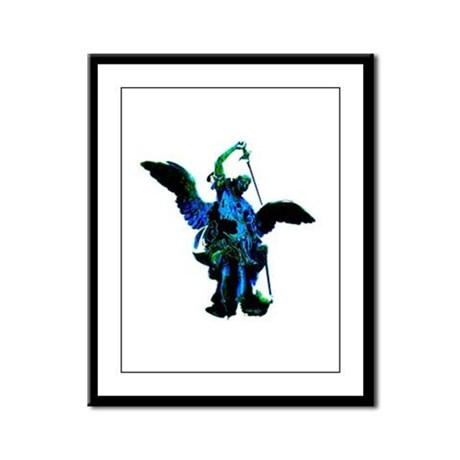 Powerful Angel - Blue Framed Panel Print