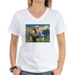 Saint Francis / Beagle Women's V-Neck T-Shirt