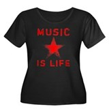 Music is Life Women's Plus Size Scoop Neck Dark T-