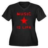 Music is Life Women's Plus Size V-Neck Dark T-Shir