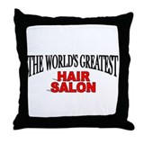 """The World's Greatest Hair Salon"" Throw Pillow"