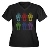 Robots Women's Plus Size V-Neck Dark T-Shirt