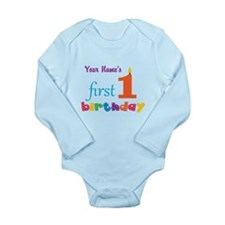 First Birthday - Perso Long Sleeve Infant Bodysuit