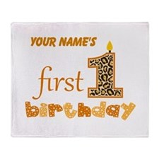 First Birthday - Personalized Throw Blanket