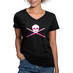 Master Flute Skull Women's V-Neck Dark T-Shirt