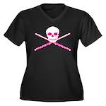 Master Flute Skull Women's Plus Size V-Neck Dark T