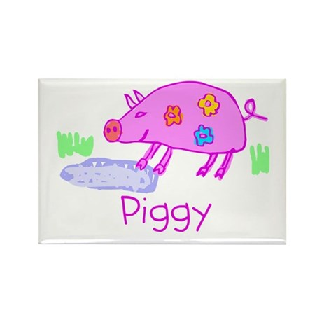 Kid Art Piggy Rectangle Magnet